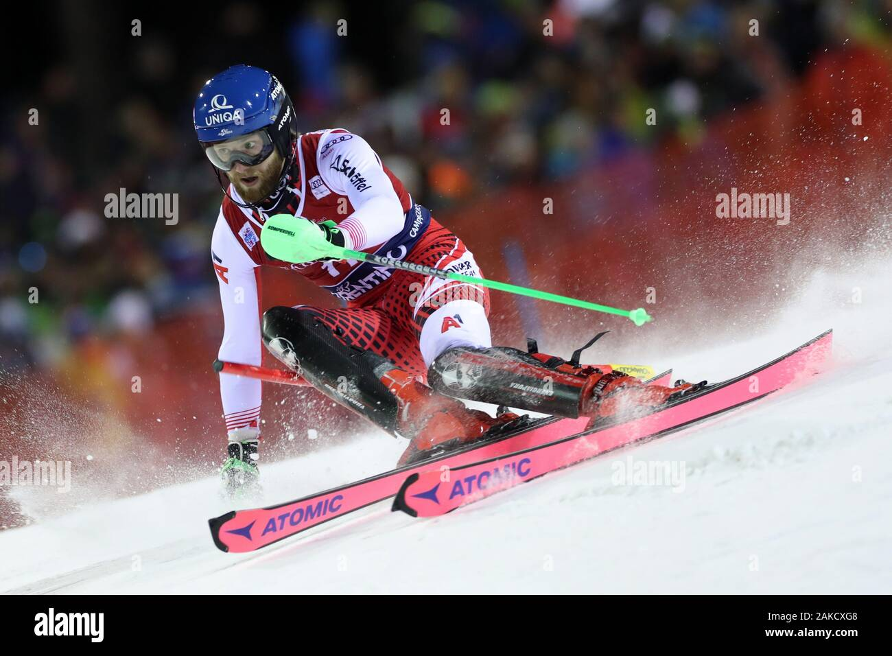 Madonna di Campiglio, Italy. 8th Jan 2020. FIS Alpine Ski World Cup Men's Night Slalom in Madonna di Campiglio, Italy on January 8, 2020, Marco Schwarz (AUT) - Editorial Use Credit: Action Plus Sports Images/Alamy Live News Stock Photo