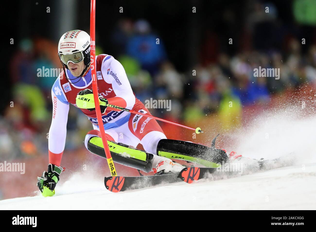 Madonna di Campiglio, Italy. 8th Jan 2020. FIS Alpine Ski World Cup Men's Night Slalom in Madonna di Campiglio, Italy on January 8, 2020, Ramon Zenhaeusern (SUI) - Editorial Use Credit: Action Plus Sports Images/Alamy Live News Stock Photo
