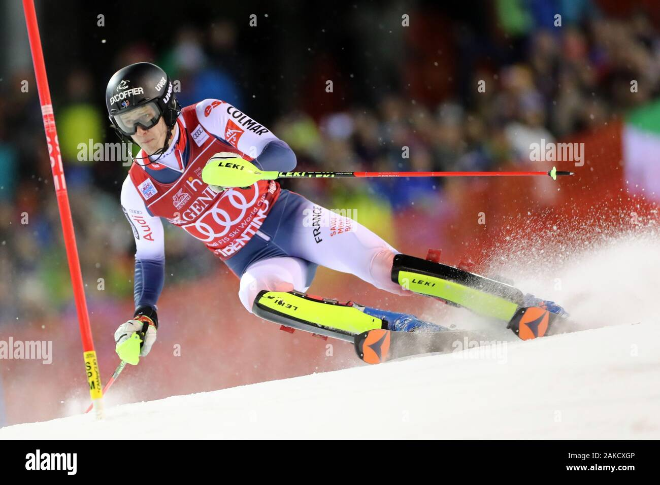 Madonna di Campiglio, Italy. 8th Jan 2020. FIS Alpine Ski World Cup Men's Night Slalom in Madonna di Campiglio, Italy on January 8, 2020, Clement Noel (FRA)- Editorial Use Credit: Action Plus Sports Images/Alamy Live News Stock Photo