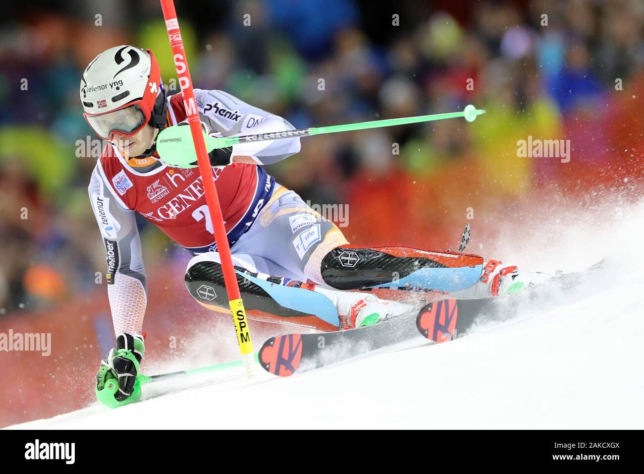 Madonna di Campiglio, Italy. 8th Jan 2020. FIS Alpine Ski World Cup Men's Night Slalom in Madonna di Campiglio, Italy on January 8, 2020, Henrik Kristoffersen (NOR) - Editorial Use Credit: Action Plus Sports Images/Alamy Live News Stock Photo