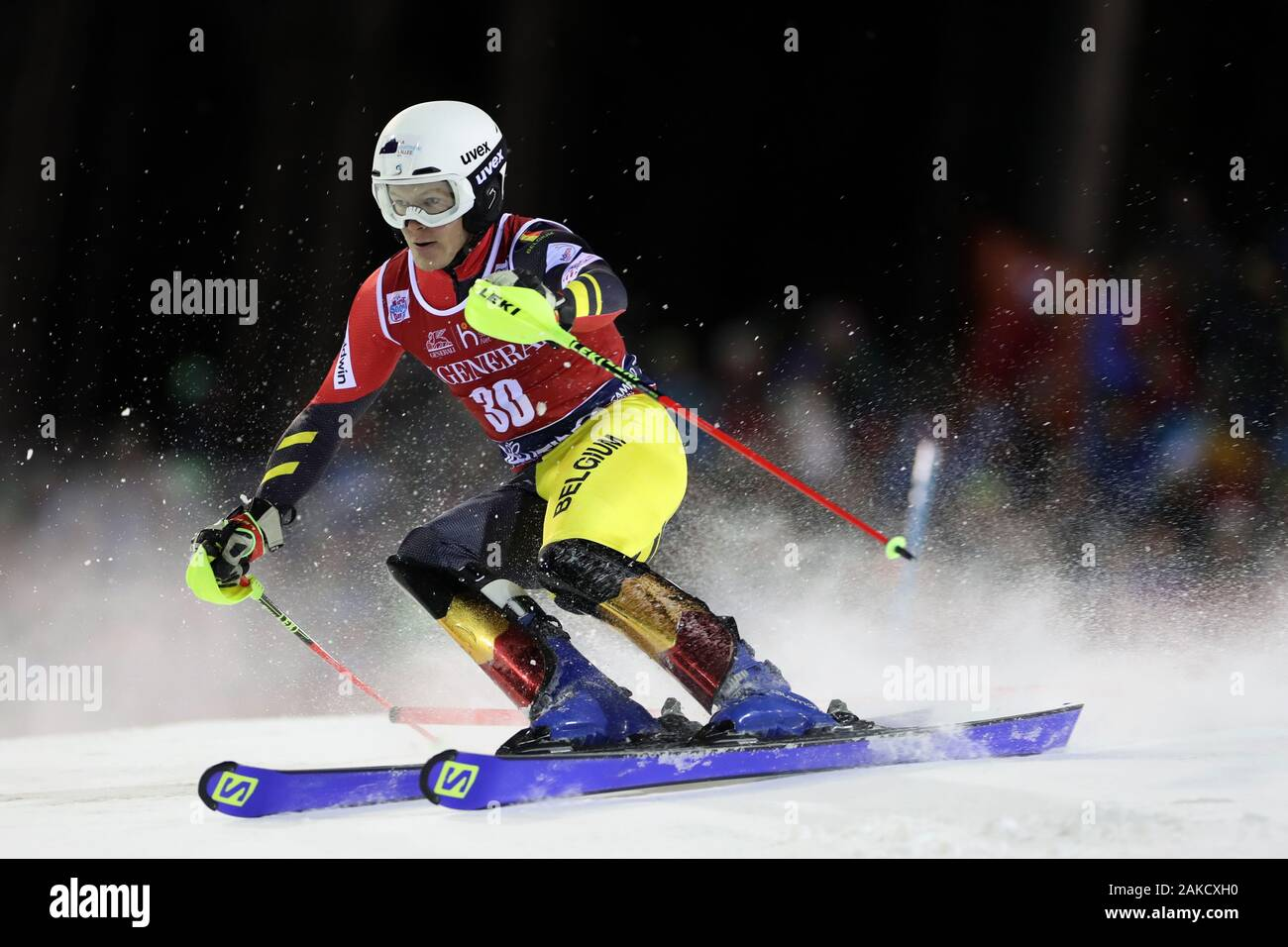 Madonna di Campiglio, Italy. 8th Jan 2020. FIS Alpine Ski World Cup Men's Night Slalom in Madonna di Campiglio, Italy on January 8, 2020, Armand Marchant (BEL) - Editorial Use Credit: Action Plus Sports Images/Alamy Live News Stock Photo