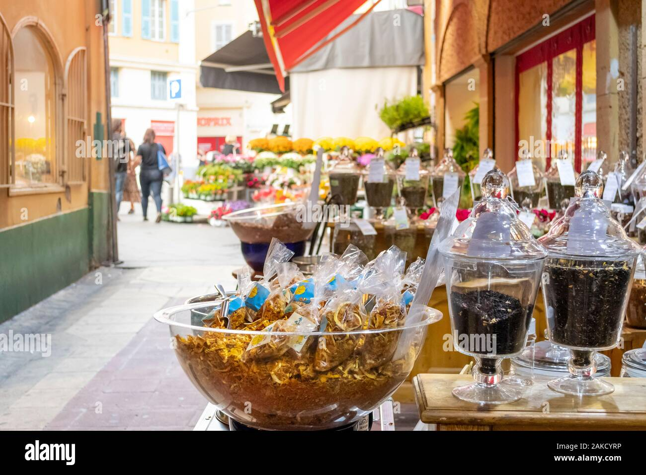 Wrapped spices, teas, fragrances and ingredients outside the patio of a gift store in the Old Town center of Nice, France. Stock Photo