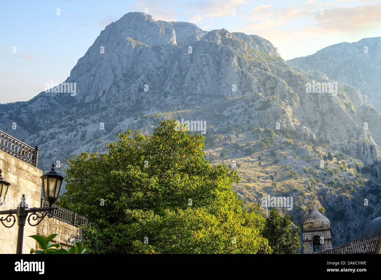 One of the many beautiful and scenic mountains above the medieval city of Kotor, Montenegro. Stock Photo