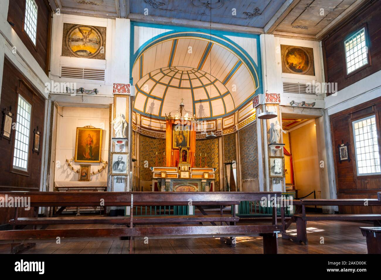 The interior main altar of the Jesuit mission at Cataldo, Idaho, in the Silver Valley, the oldest building in Idaho built in 1850. Stock Photo