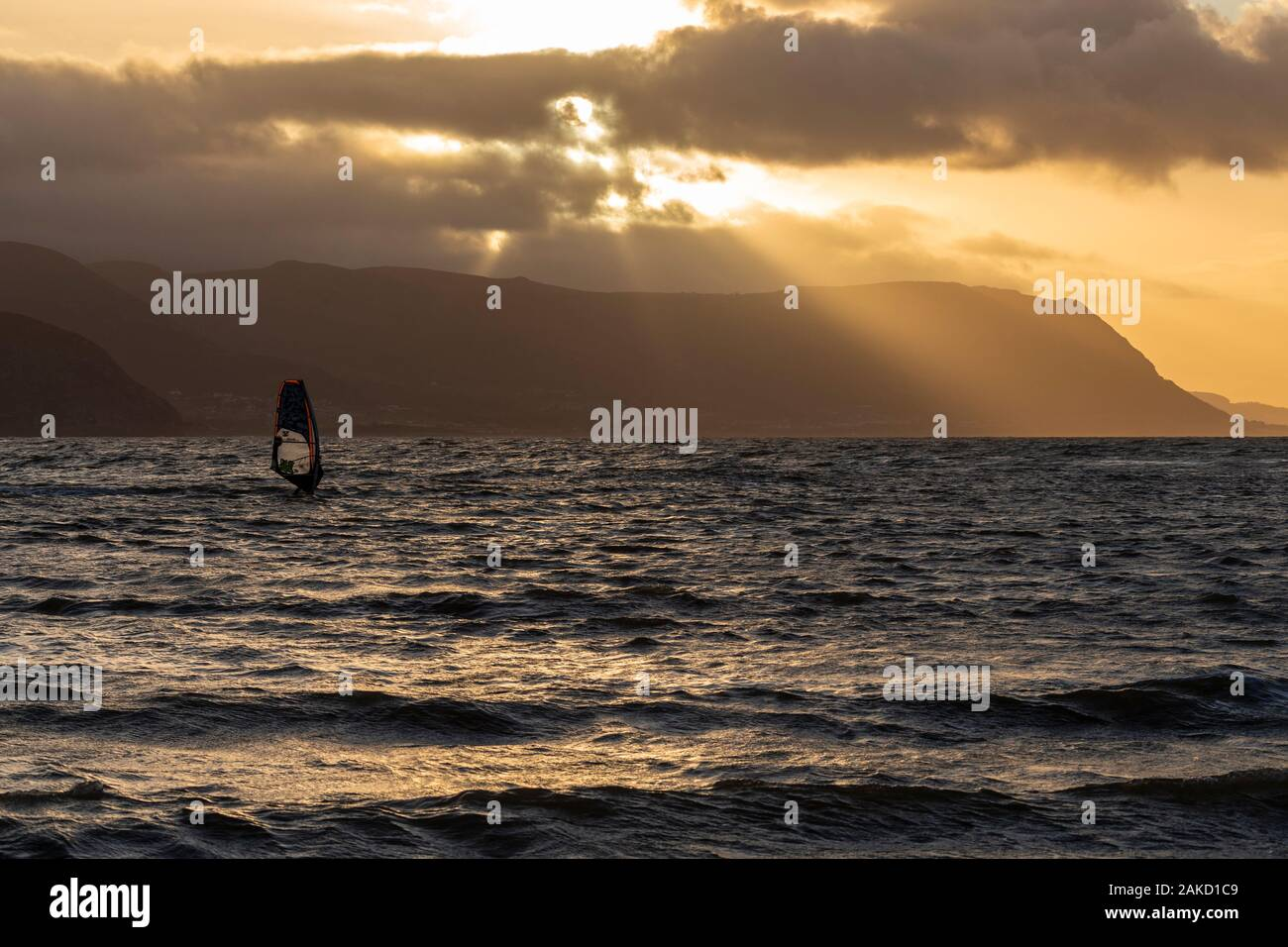 Wind surfing at Llandudno West Shore, North Wales coast Stock Photo