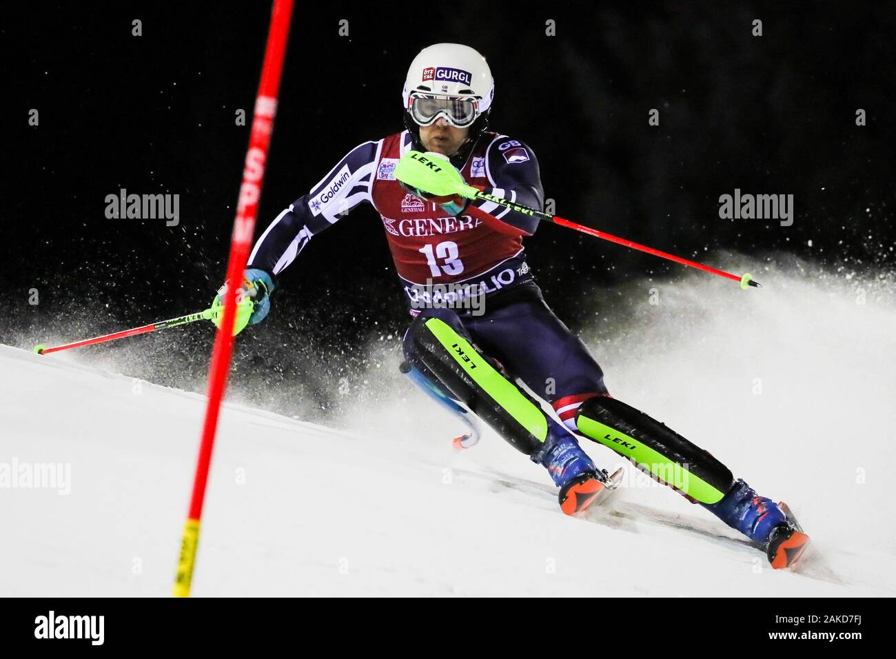 Madonna di Campiglio, Italy, 08 Jan 2020, ryding dave (gbr) 8th classified during FIS AUDI World Cup - Slalom Men - Ski - Credit: LPS/Sergio Bisi/Alamy Live News Stock Photo
