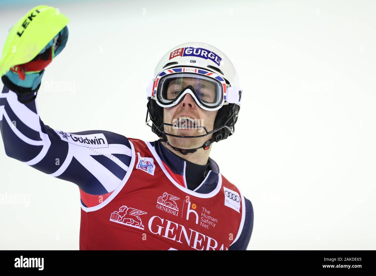Madonna di Campiglio, Italy. 8th January, 2020. FIS Alpine Ski World Cup Men's Night Slalom in Madonna di Campiglio, Italy on January 8, 2020, Dave Ryding (GBR) Photo: Pierre Teyssot/Espa-Images Credit: European Sports Photographic Agency/Alamy Live News Stock Photo