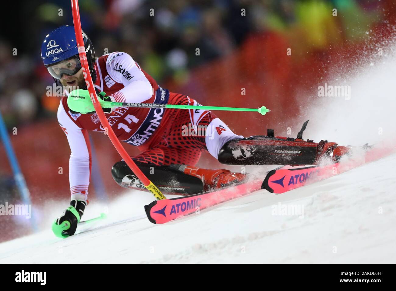 Madonna di Campiglio, Italy. 8th January, 2020. FIS Alpine Ski World Cup Men's Night Slalom in Madonna di Campiglio, Italy on January 8, 2020, Marco Schwarz (AUT) in action. Photo: Pierre Teyssot/Espa-Images Credit: European Sports Photographic Agency/Alamy Live News Stock Photo