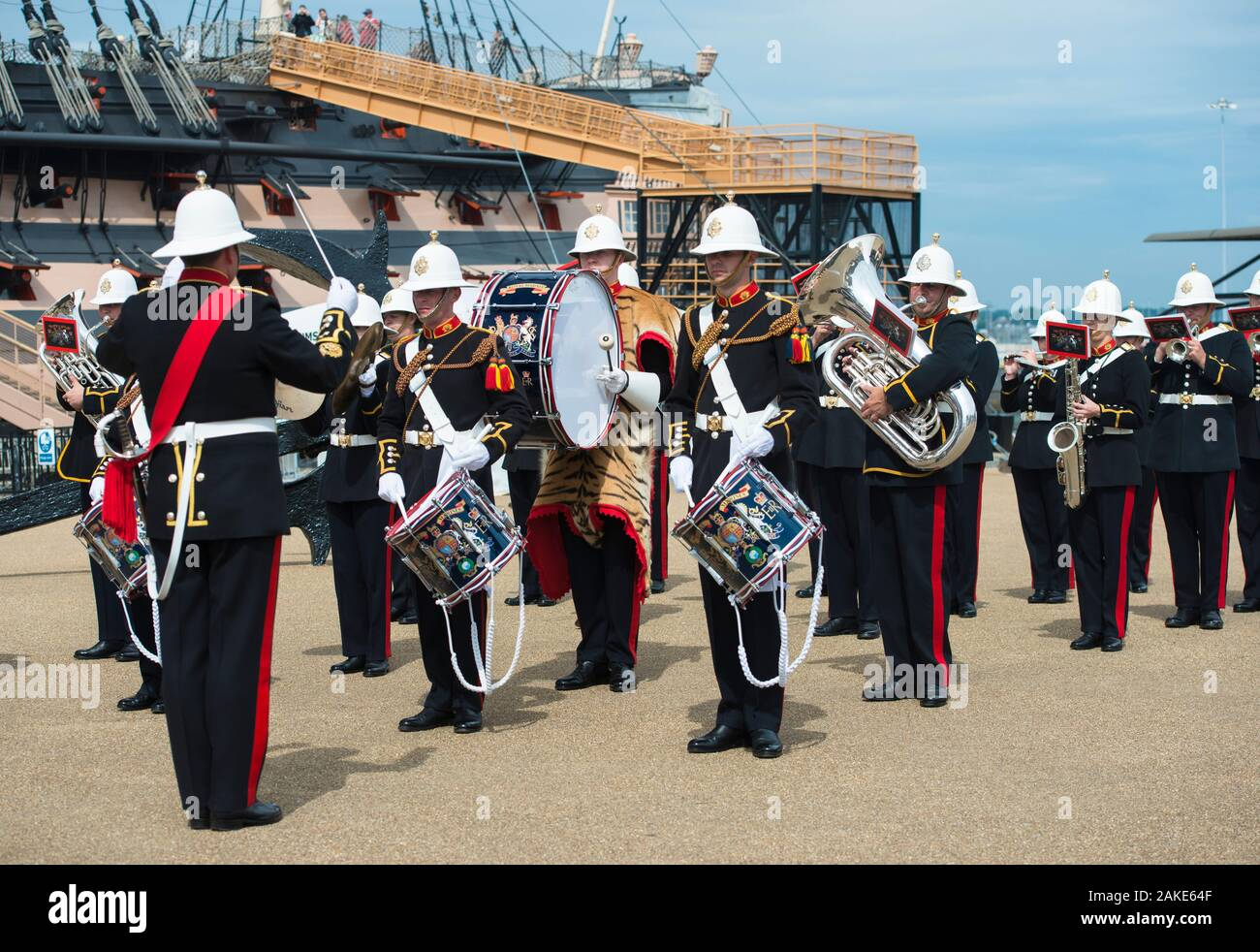 Royal Marines Band Service. D-Day reenactment event day, Portsmouth Historic Dockyard, England. Stock Photo