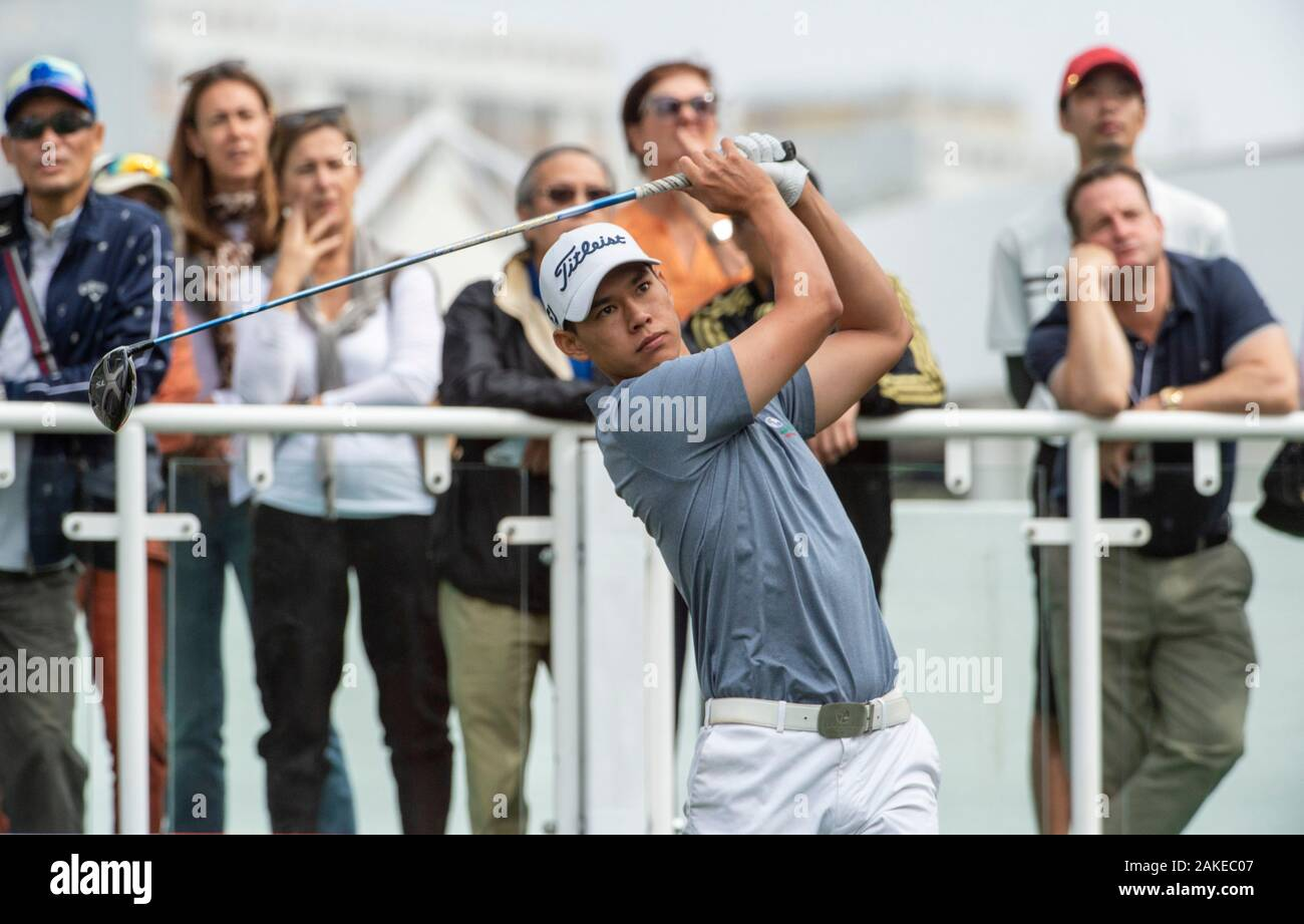 FANLING,HONG KONG SAR,CHINA: JANUARY 9th 2020. Hong Kong Open Golf Round. Matthew Cheung from Hong Kong on the 1st tee during the opening round of the Hong Kong Open.Alamy Live news/Jayne Russell Stock Photo