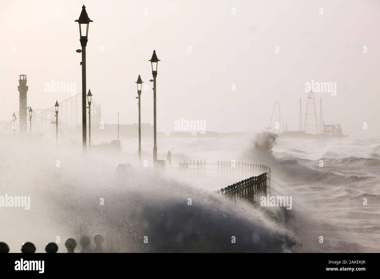 Blackpool battered by storms on  18 January 2007. The storms that day killed 13 people across the UK in hurricane force winds. January 2007 Stock Photo
