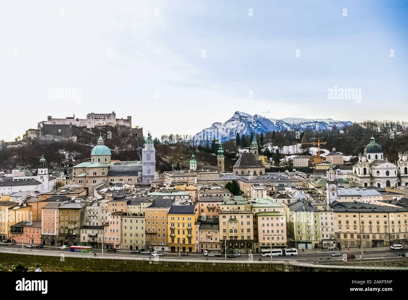 SALZBURG, AUSTRIA - JANUARY 09: Top view on Salzburg city and Hohensalzburg fortress on January 08, 2008 in Salzburg, Austria Stock Photo