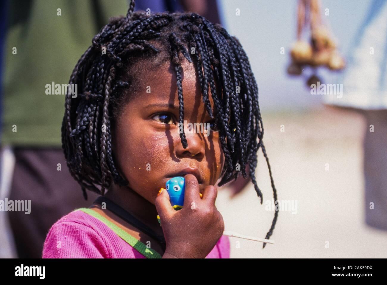 Himba female child in a Himba village, Kaokoveld, Namibia, Africa Stock Photo