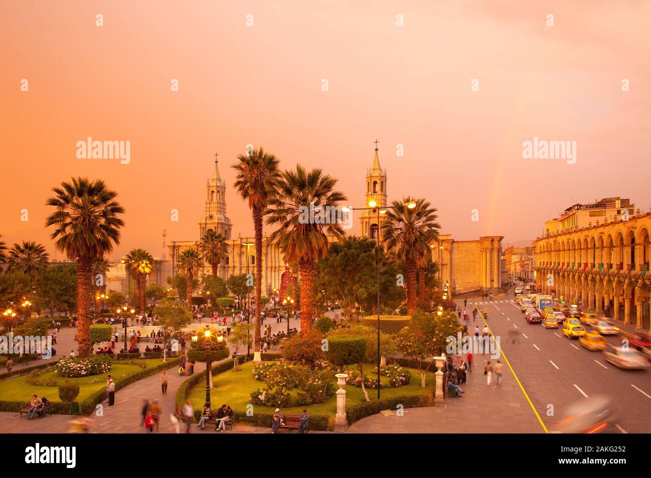 Arequipa, Peru - Basilica Cathedral of Arequipa at Plaza de Armas, main square of the city. Stock Photo