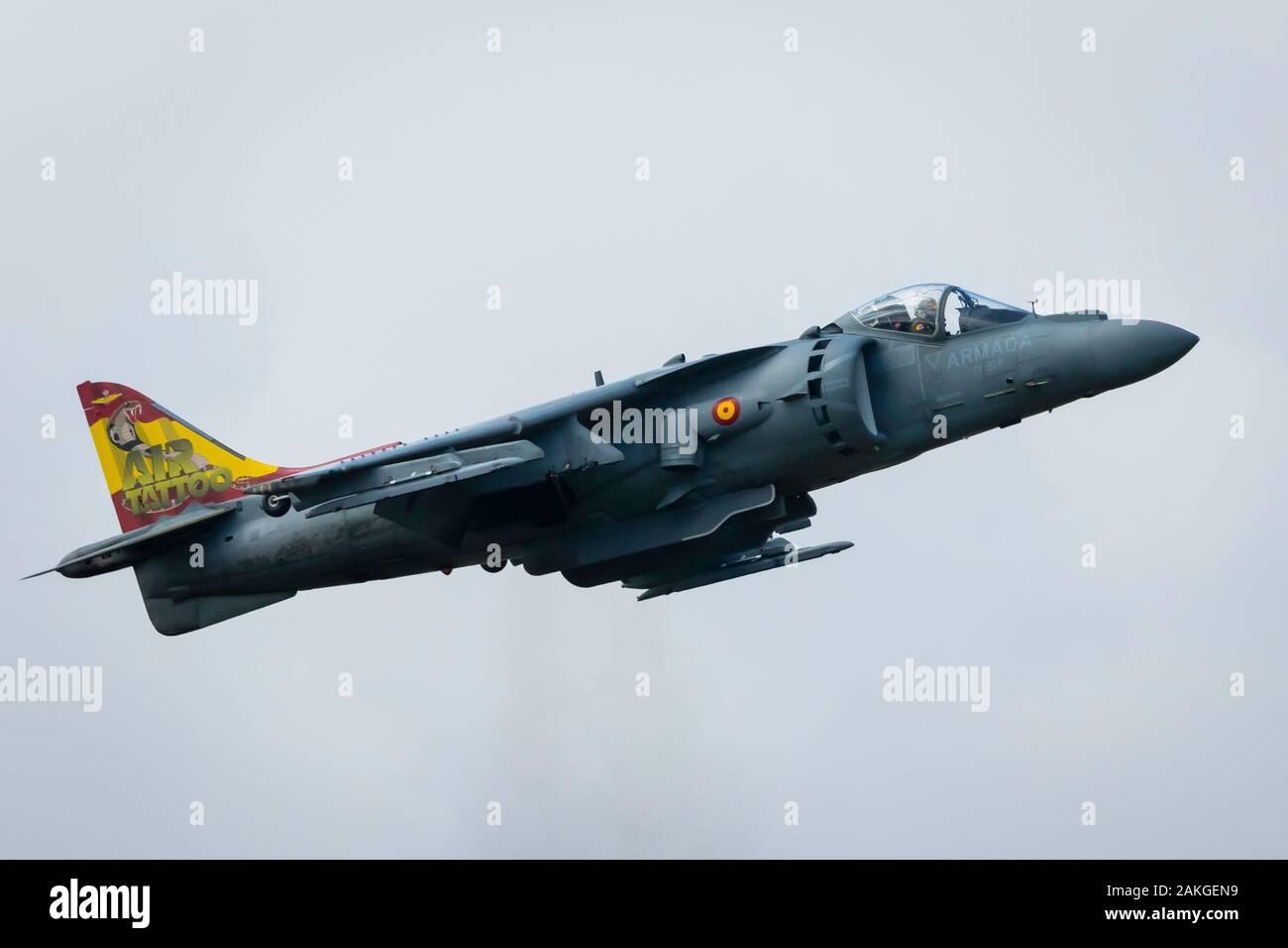 Fairford, Gloucestershire, UK - July 20th, 2019: Spanish Navy EAV-8B Harrier II Displays at the Fairford International Air Tattoo 2019 Stock Photo
