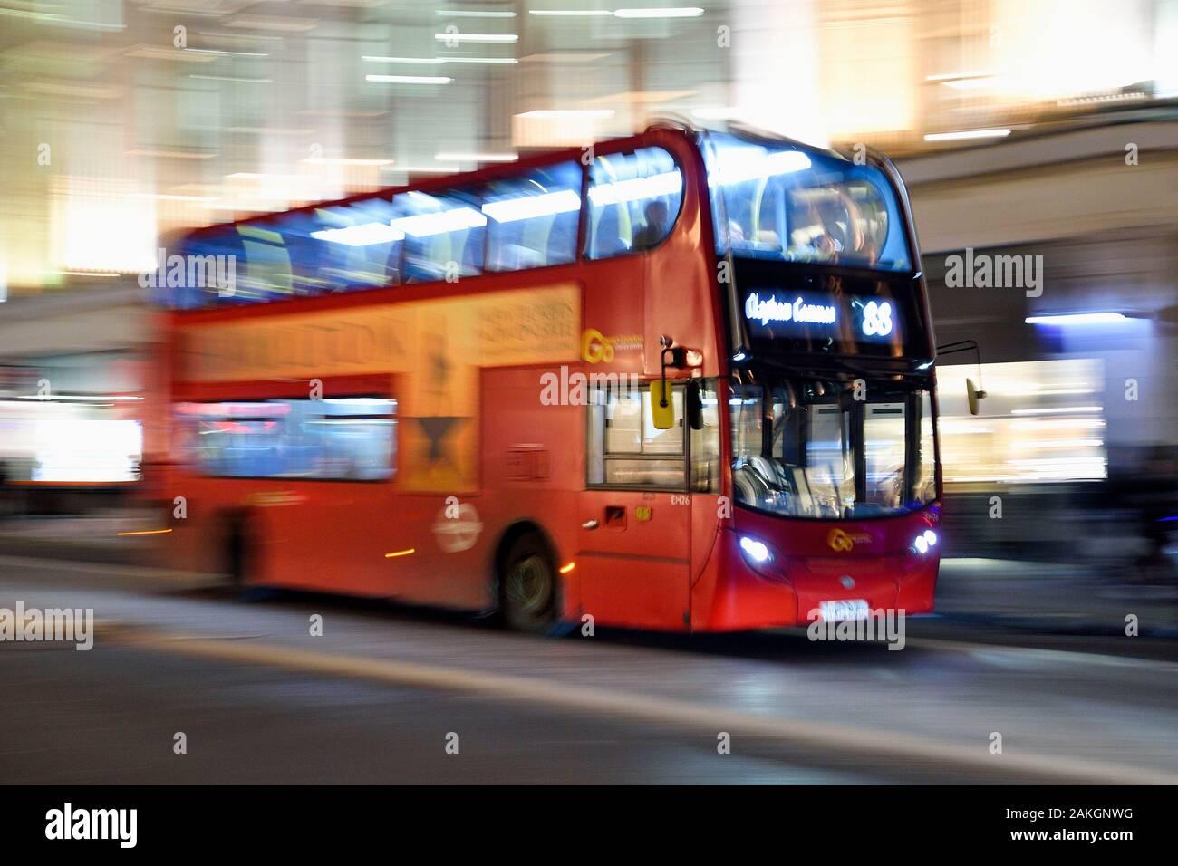United Kingdom, London, Regent street, red double decker bus Stock Photo