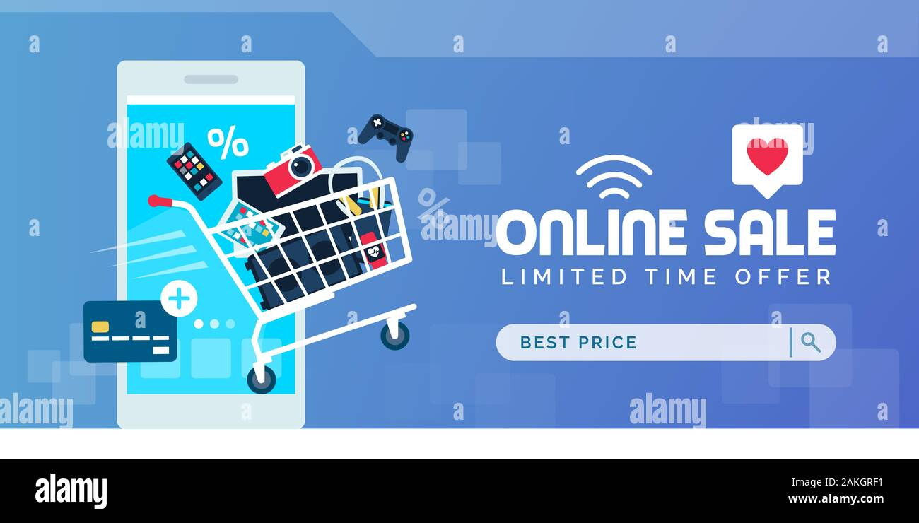 Electronics Promotional Online Sale Banner With Full Shopping Cart Smartphone And Credit Card Stock Vector Image Art Alamy