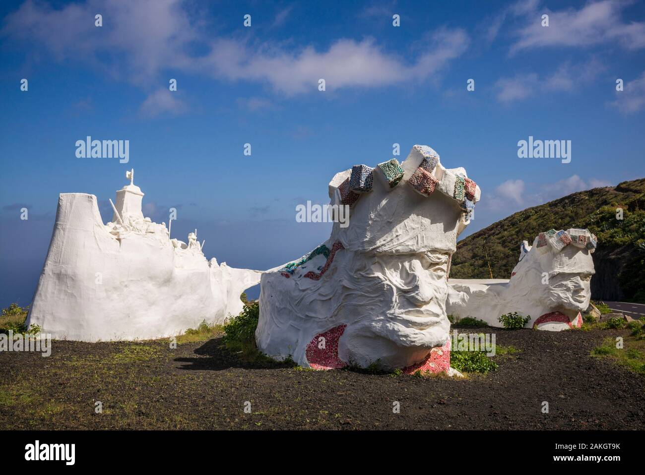 Spain, Canary Islands, El Hierro Island, Valverde, island capital, plaster statues from the traditional Three Kings Christmas celebrations Stock Photo
