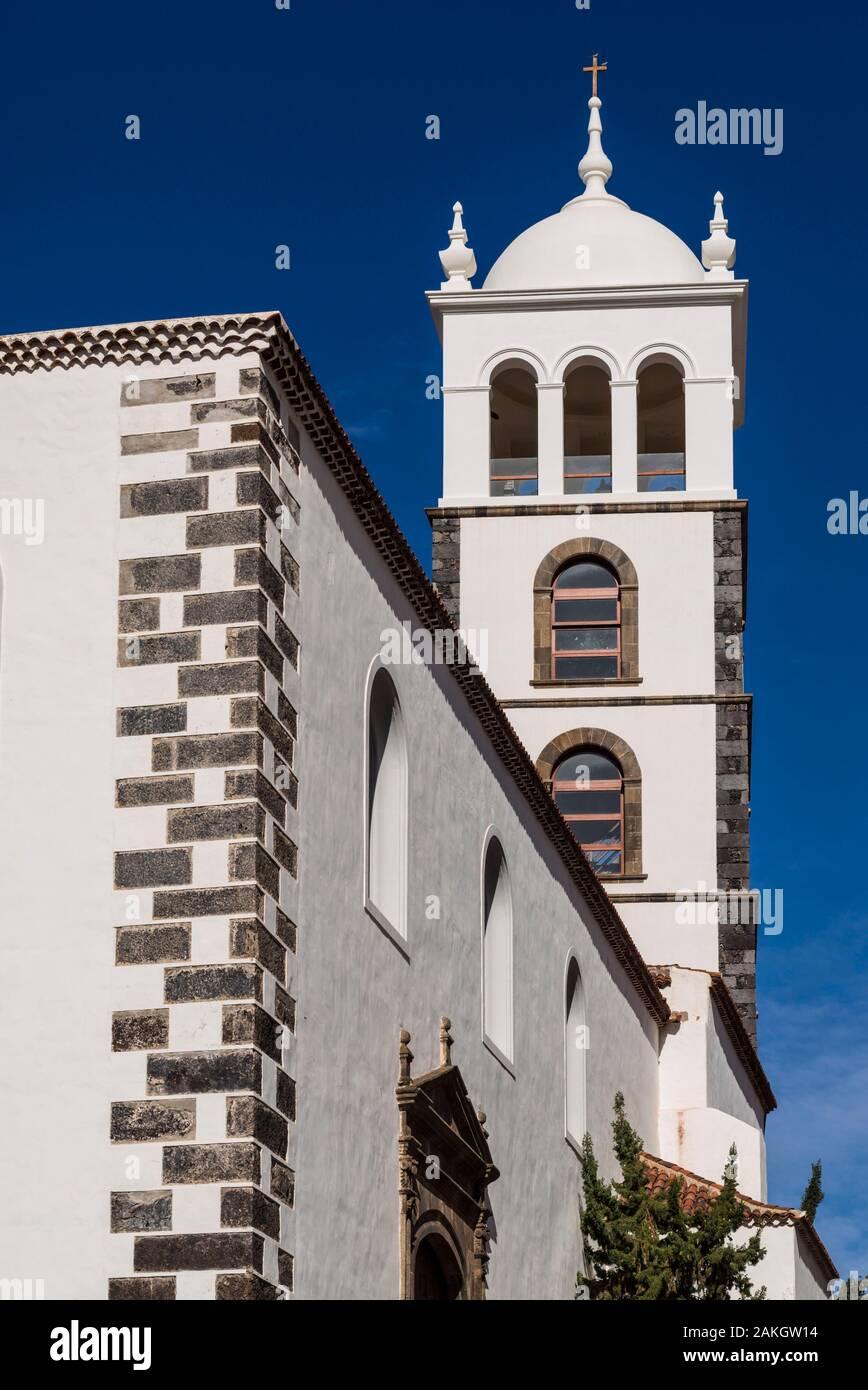 Spain, Canary Islands, Tenerife Island, Garachico, Iglesia de Santa Ana church, bell tower Stock Photo