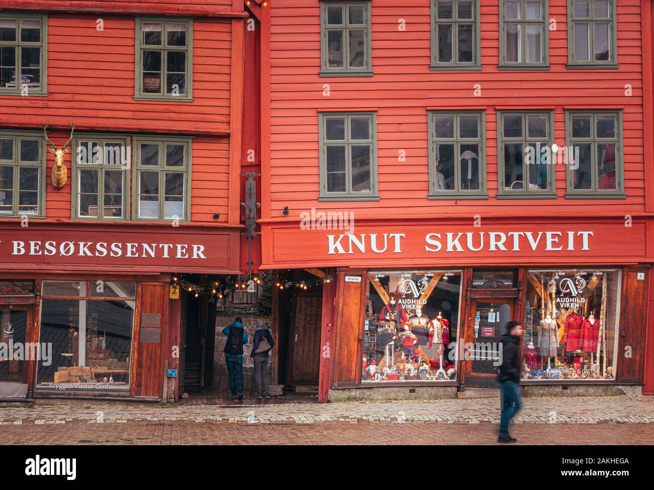Bryggen in Bergen is a UNESCO World Heritage site and the most visited tourist attraction in Norway, This is at Winter time. Stock Photo