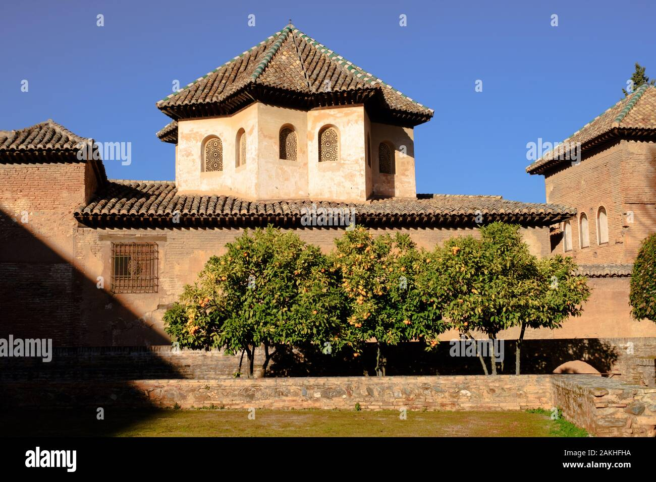 Moorish design and architecture in the Nasrid palaces at the Alhambra in Granada, Andalucia, Spain, Europe Stock Photo