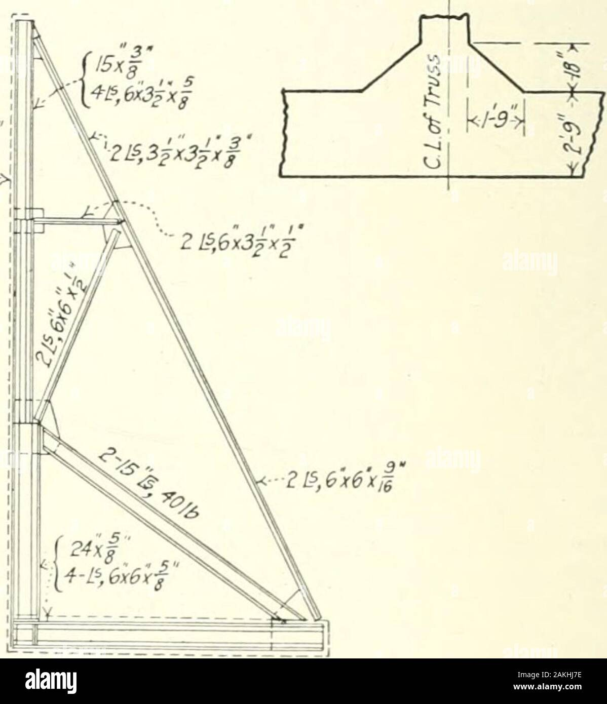 """Retaining walls; their design and construction . 4-l^,6x6x^. Fig. 58.—Counterfort wall. The design of the counterfort proper (note that a final chock of the dimen-sions just found is omitted—^in actual practice such omission is poor design)is most conveniently made by graphical methods. The skeleton outlineof the truss is shown in Fig. 58. The loads at the i)aiu!l points .4, B, C are,allowing for the ten foot spacing of counterforts: -3 1.83 X 16 , 5 X 16   ^o i a ^ Ti H n — ?^o 2X K 65.5 X 16 1.83 X 16 2 X ^ ^ 2 ? X 16 = 112 12.5 X 15 , 5.5 X 15 , 7 X 16 , 2 X 5.5 X 16 ,"""", The stress polygon Stock Photo"""