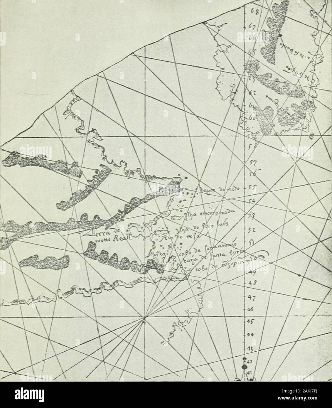 Labrador: its discovery, exploration, and development . 529, Wolfenbuttel B 1530, Ricardina1540, Deslien 1541, Sebastian Cabot 1544, and Descliers1546, the peculiarities of which will be discussed later. The maps known as the Egerton Portulan 1507,Ruysch 1508, and Majiolo 1511, are more crude in theirdelineation, but are all interesting, as they embody theidea that the newly found countries were the easternportion of Asia. The Ruysch map is particularly im-portant to us as it shows the veritable Greenland, sonamed, and Newfoundland labelled, for the first time, Terra Nova, but Labrador is not Stock Photo