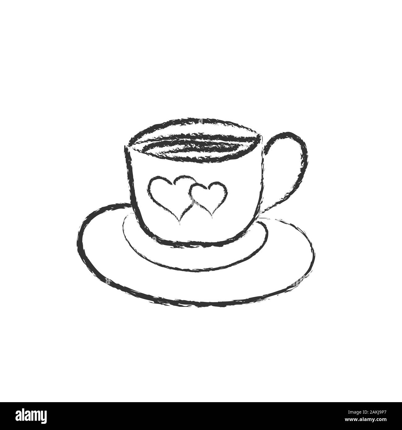 Vector Pencil Drawing Of A Cup Of Coffee Or Tea With A Heart On A Saucer In The Style Of Doodle For Postcards Posters Stickers And Seasonal Design I Stock Vector Image