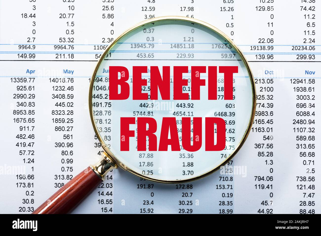 High Angle View Of Magnifying Glass Over Benefit Fraud Text On Monthly Data Report Stock Photo Alamy