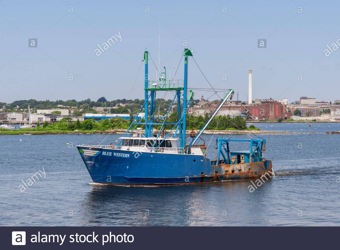 Fairhaven, Massachusetts, USA - July 26, 2019: Scalloper Blue Western outbound from Fairhaven Stock Photo