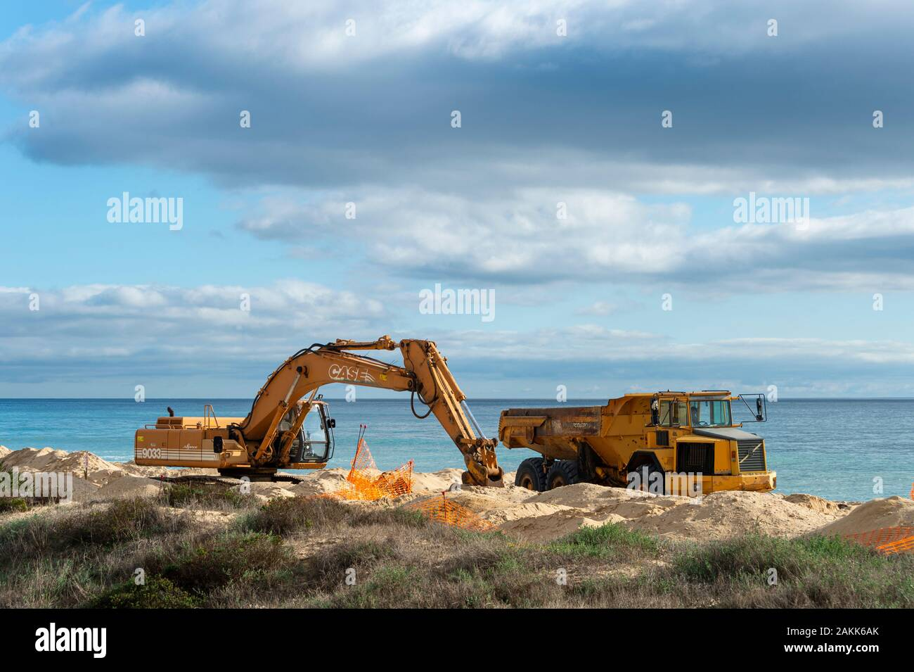 digger and truck on a beach moving sand to repair the beach due to coastal erosion. Stock Photo