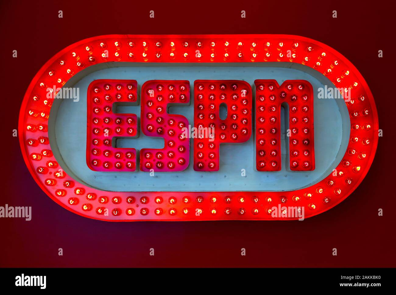 The Original Espn Logo Is Shown Displayed In A Highly Visual Led Light Display In The Digital Center 2 In Bristol Connecticut Stock Photo Alamy