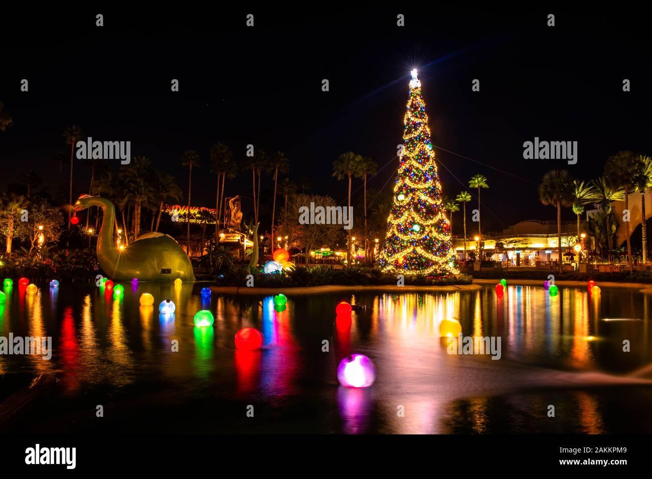 Orlando Christmas 2020 Orlando, Florida. January 03, 2020, Dinosaur and Christmas Tree at