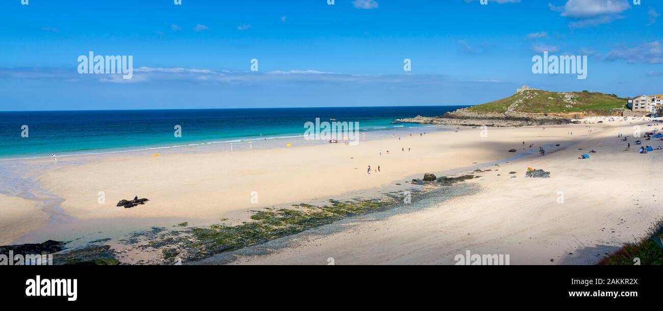 Beautiful golden sandy beach at Porthmeor Beach St Ives Cornwall England UK Europe Stock Photo