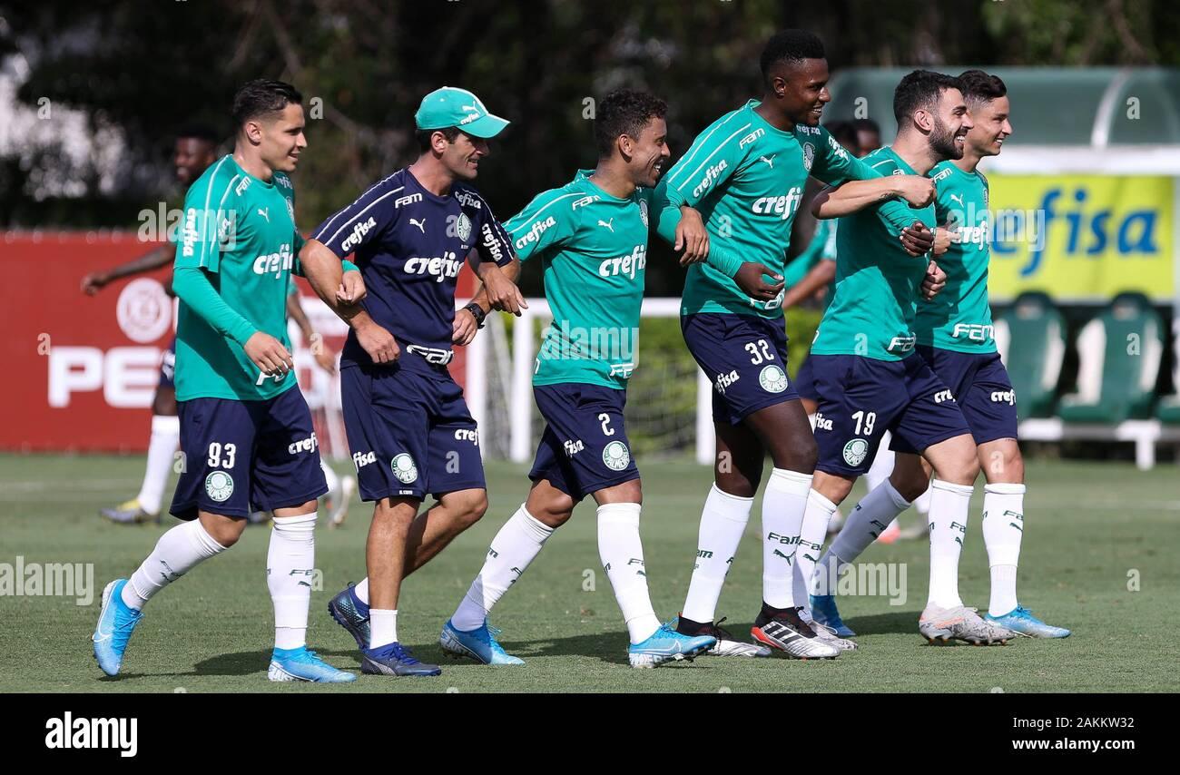 SÃO PAULO, SP - 09.01.2020: TREINO DO PALMEIRAS - The SE Palmeiras players during training at the Football Academy. (Photo: Cesar Greco/Fotoarena) Stock Photo