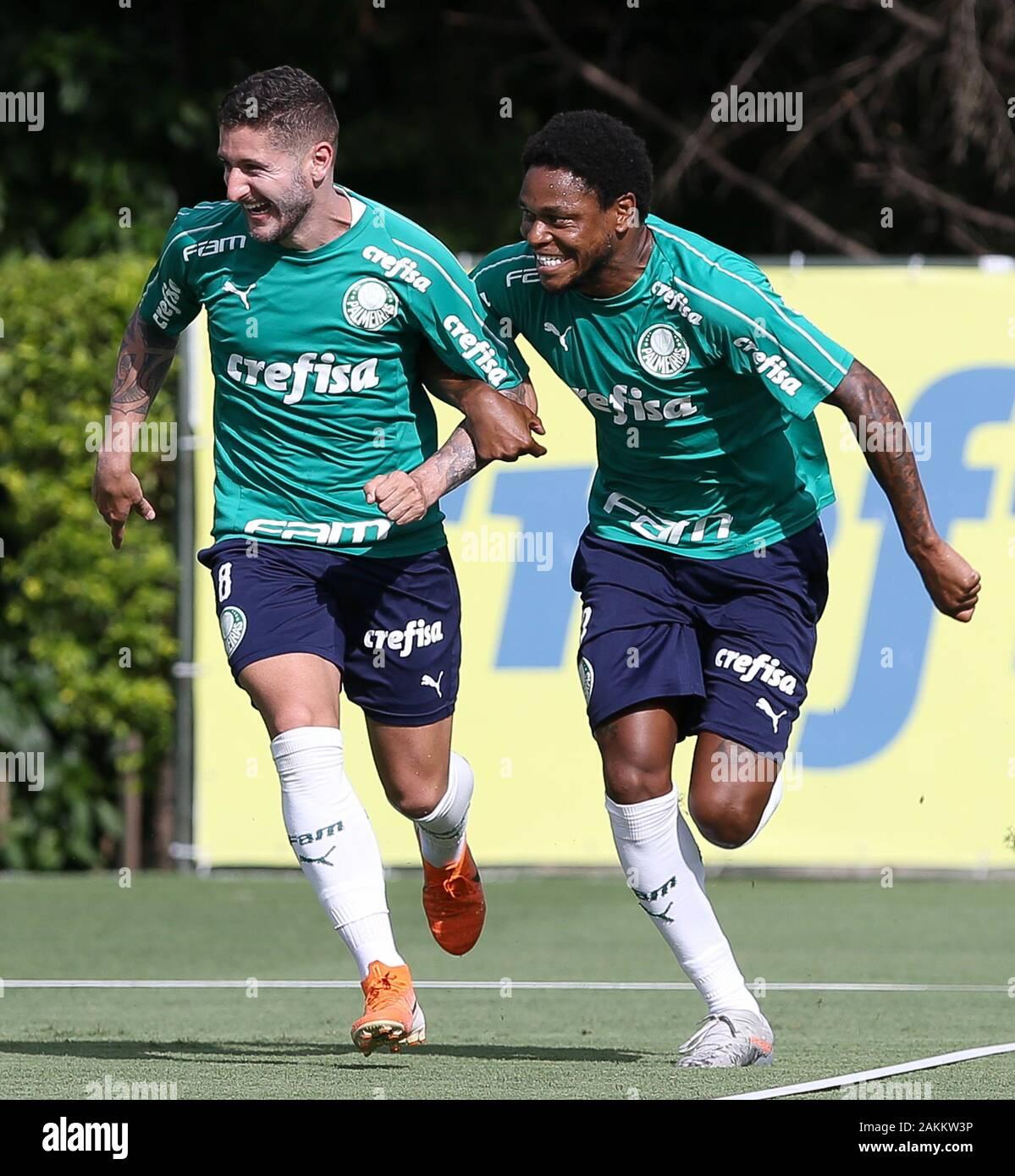 SÃO PAULO, SP - 09.01.2020: TREINO DO PALMEIRAS - Zé Rafael and Luiz Adriano (D) players from SE Palmeiras during training at the Football Academy. (Photo: Cesar Greco/Fotoarena) Stock Photo