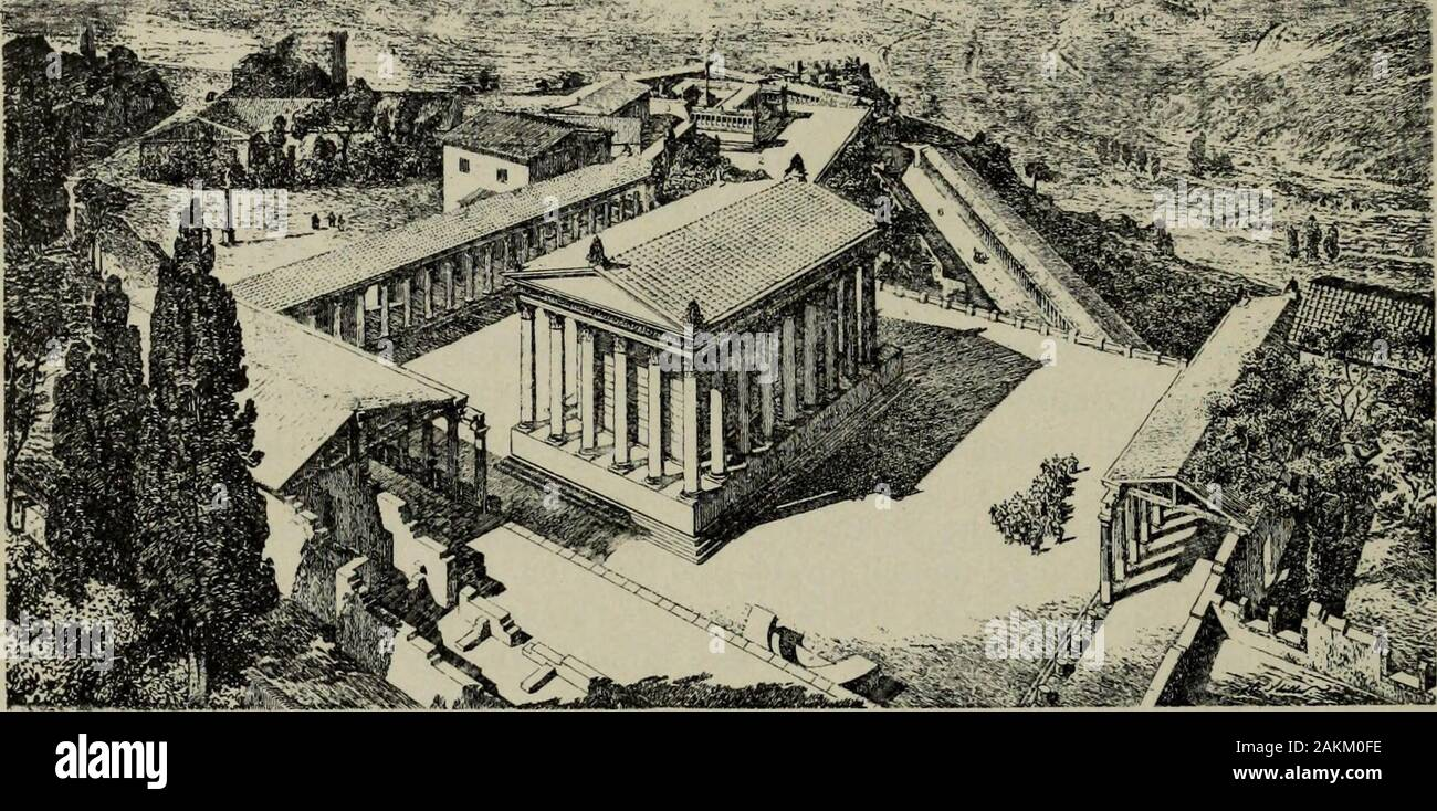 Zeus : a study in ancient religion . Fig. 979. no temple but only an open-air altar^—presumably that detected by J. Schram-men on the highest point of the hilP. When it was decided to institute the cultof Trajan, who himself had some pretensions to the name of Zeus*, the best is borne out by Dion Cass. 51. 20 koI ^Xa^ov Kai oi Uepyafirjvol tov ayCova rov Upov{jivoixacTfJiivov iirl rr) rod vaou avTov {sc. Avyo^ffTOv) Ti/ULrj iroLetv. 1 E. L. Hicks T/ze Collection of Ancient Greek Inscriptions in the British Mtcsewniii. 2. 233 f. Oxford 1890 no. 605, 9 Tpatdieia Aei^tXeta ev TLepydjucx} dvdpQiv Stock Photo