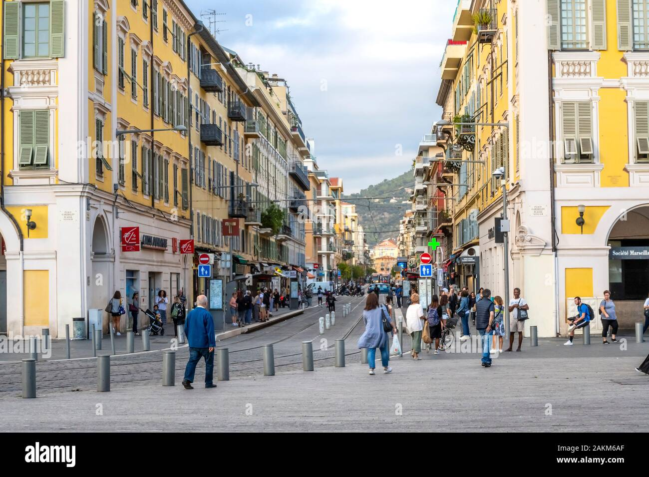 A busy late afternoon at Place Garibaldi in the Mediterranean city of Nice, France. Stock Photo