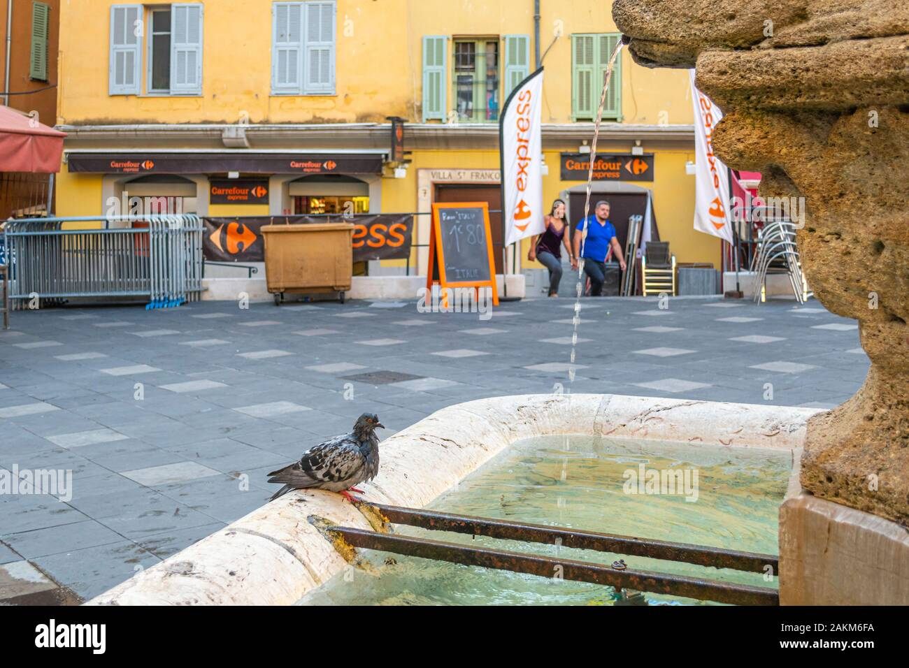 A wet pigeon bathes in a fountain of a small square in the historic Old Town of Vieux Nice, France, on the French Riviera. Stock Photo