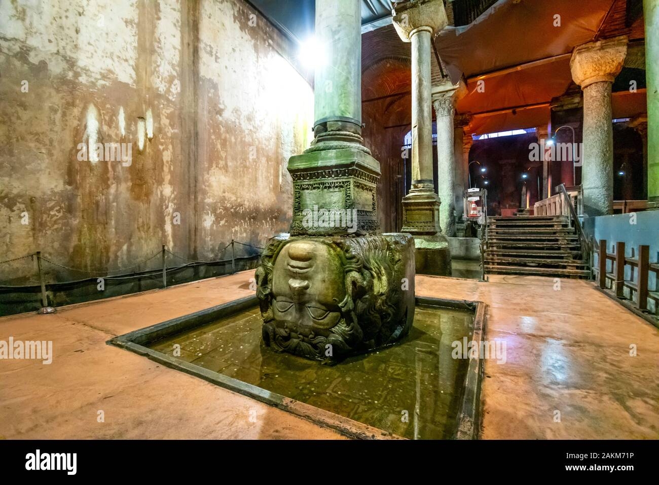 The upside down stone Medusa head column in the ancient underground Basilica Cistern in the Sultanahmet district Stock Photo
