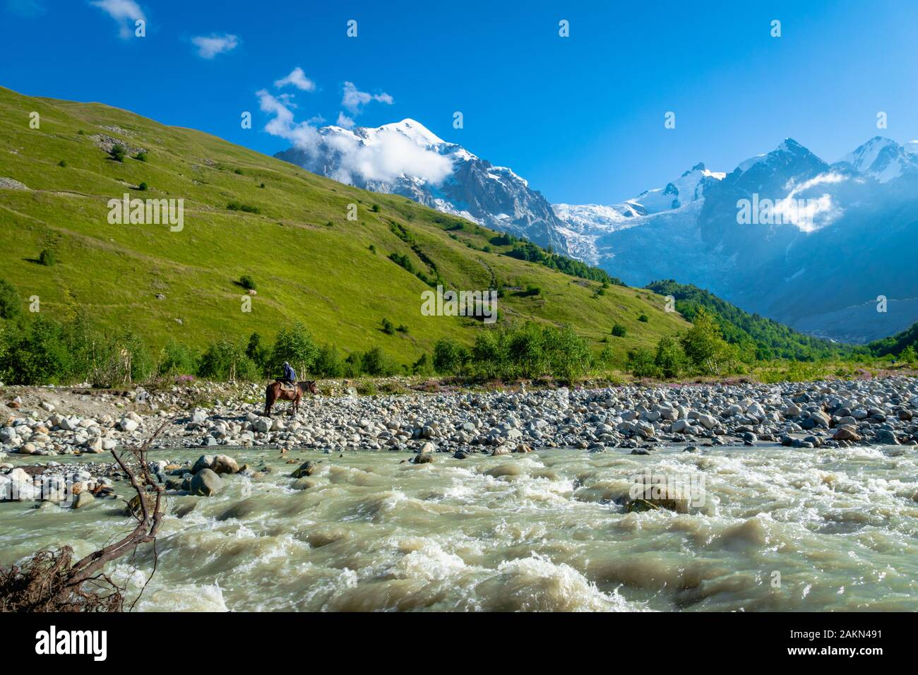 Svaneti landscape with mountains and river on the trekking and hiking route near Mestia village in Svaneti region, Georgia. Stock Photo