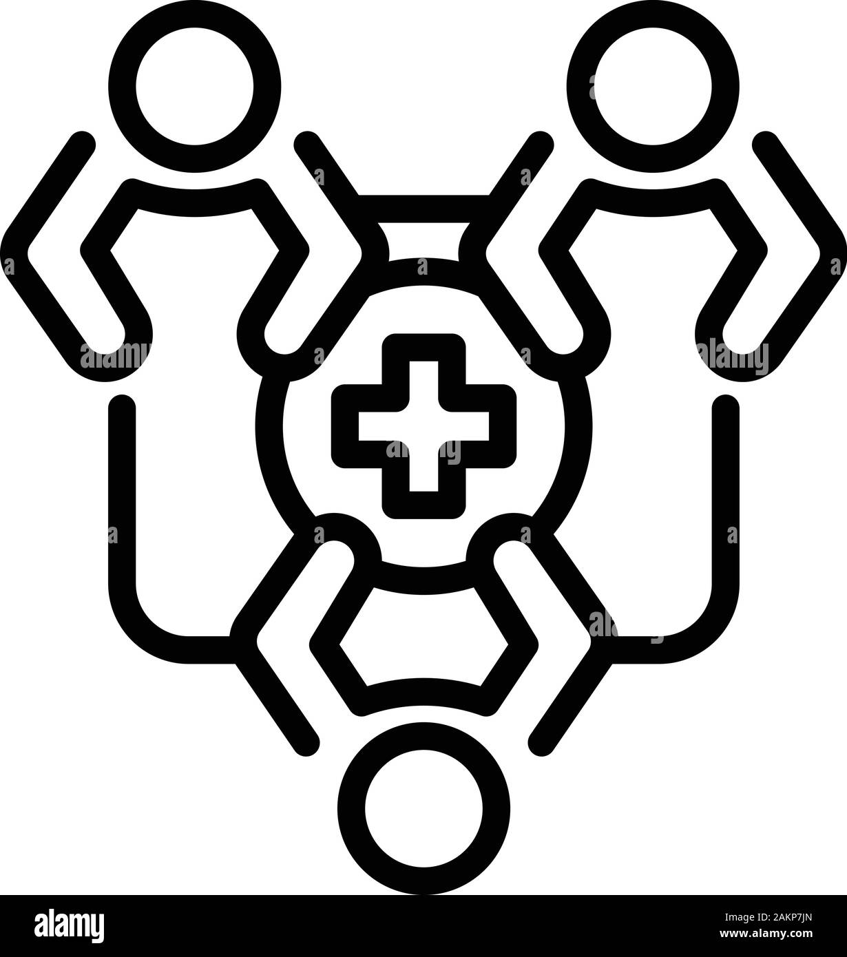 Family medical health icon, outline style Stock Vector