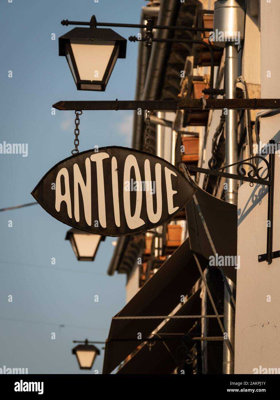 Antique shop sign in Gjirokaster old town, Albania Stock Photo