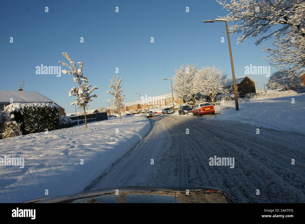 snow cold weather Hazard, icy road conditions Stock Photo