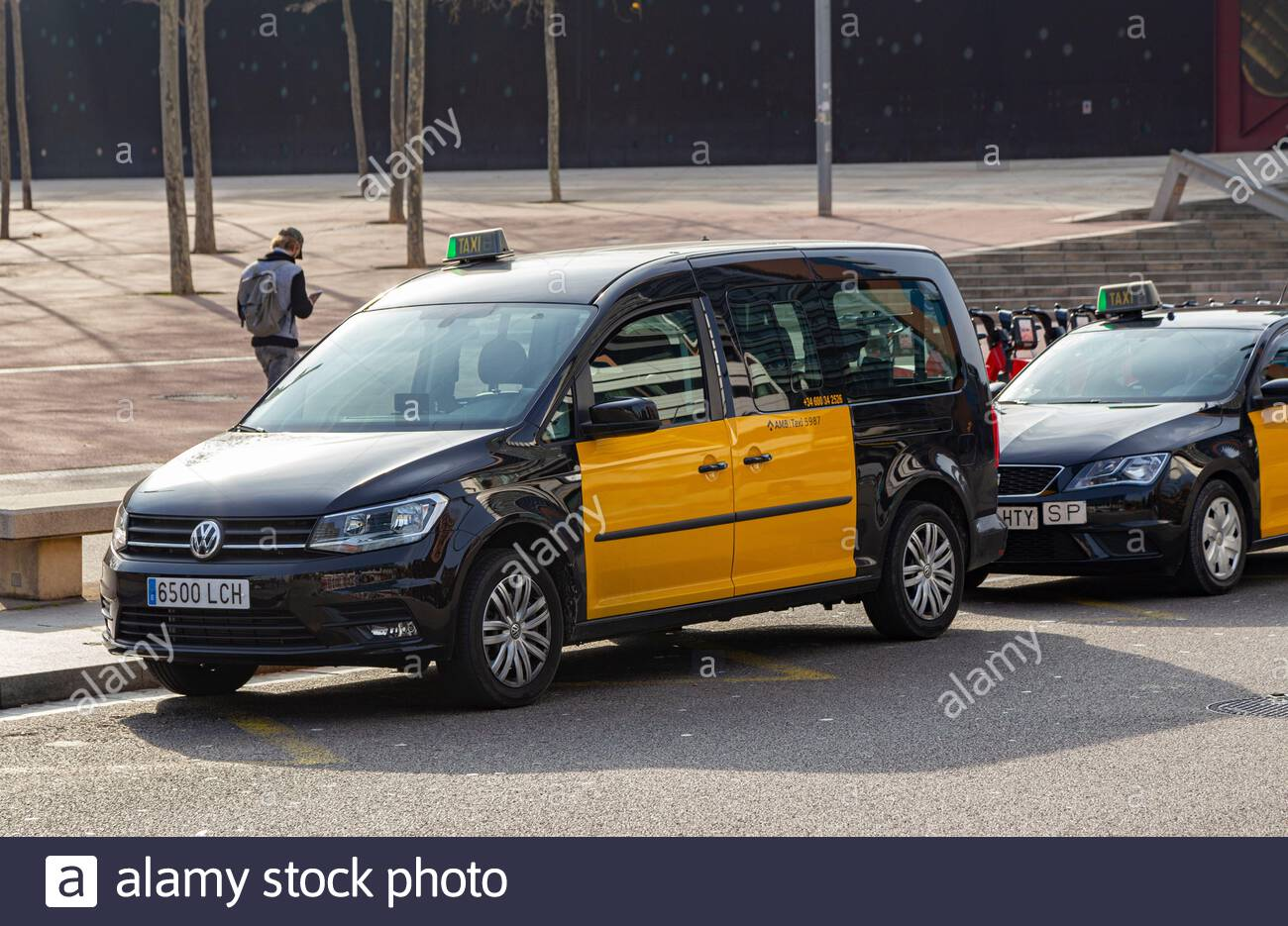 Black and yellow taxis waiting to be hired in Barcelona. Diagonal Mar area (International Barcelona Convention Center) Stock Photo