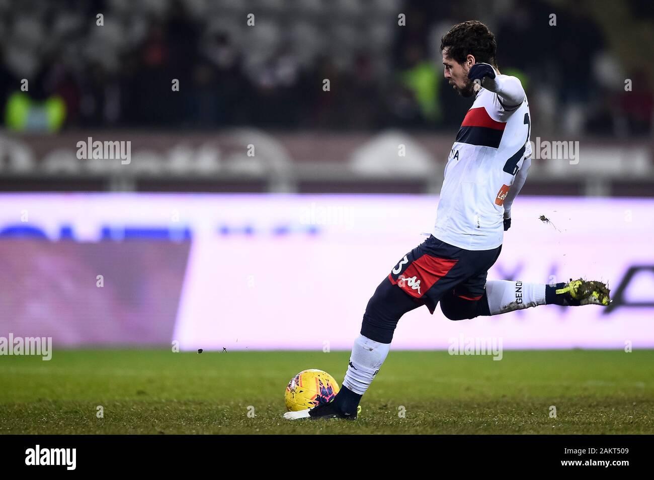 Turin Italy 09 January 2020 Mattia Destro Of Genoa Cfc Scores A Penalty Kick During The