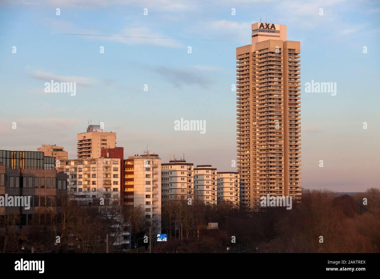 the skyscraper Colonia-House in the district Riehl, river Rhine, Cologne, Germany,  das Colonia-Haus im Stadtteil Riehl, Rhein, Kolen, Deutschland. Stock Photo