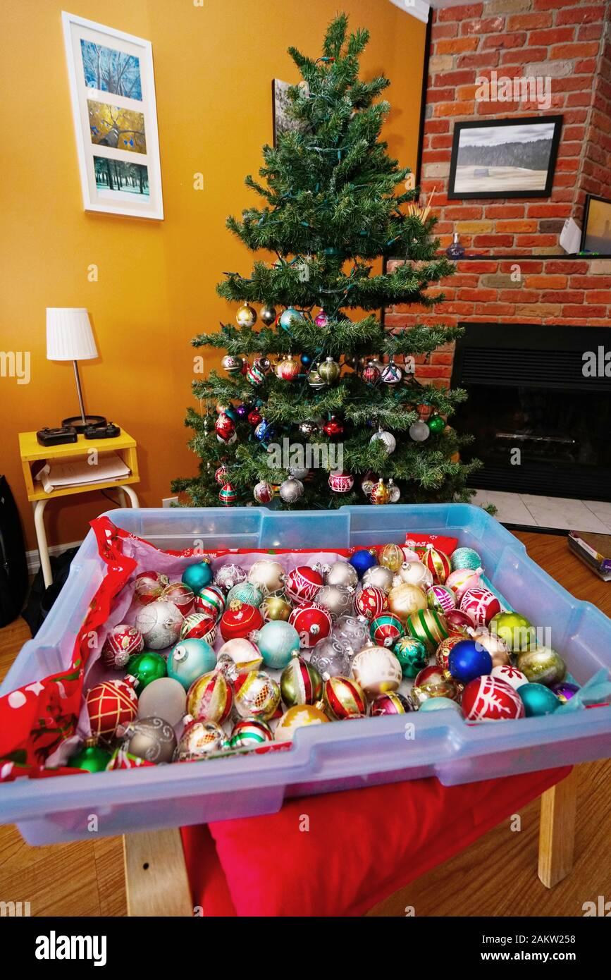 Quebec Christmas 2020 Montreal,Quebec,Canada,January 4,2020.Storage of Christmas