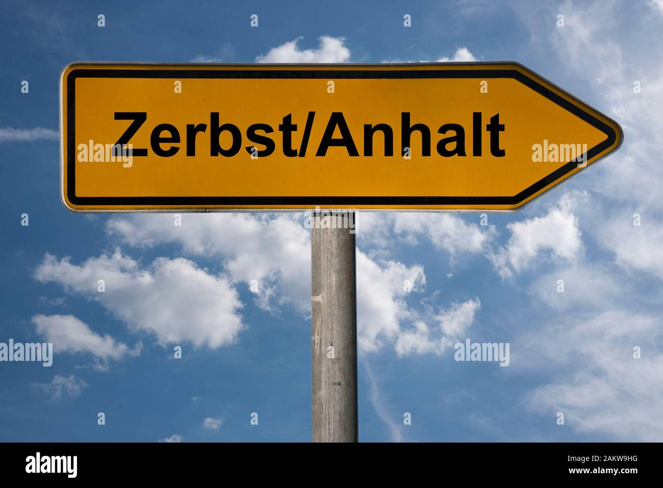 Detail photo of a signpost with the inscription Zerbst/Anhalt, Saxony-Anhalt, Germany, Europe Stock Photo