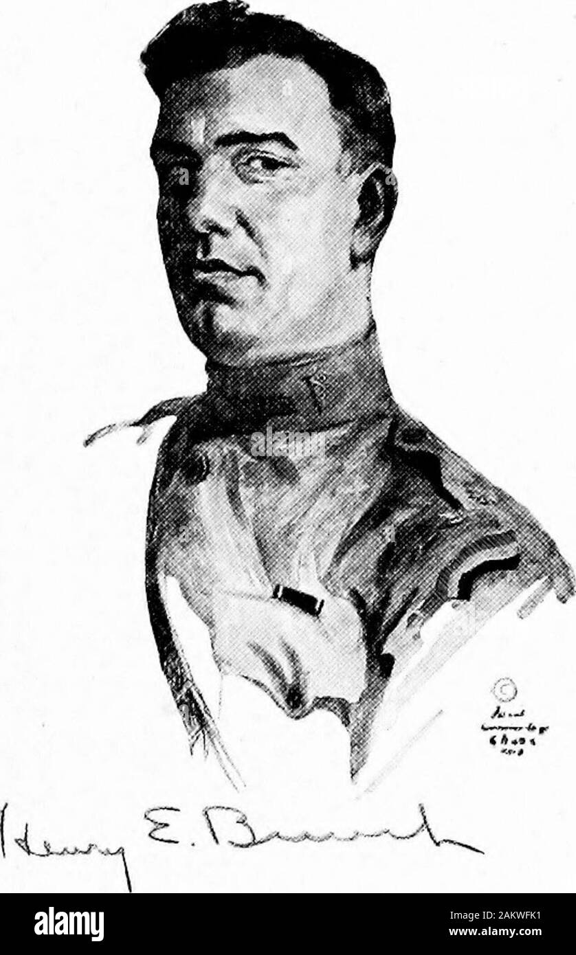 Soldiers all; portraits and sketches of the men of the AEF. . &j7jAu£fr- ,M$. HENRY E. BUNCH, Major, Medical Corps, 168th Infantry,For extraordinary heroism in action near the Boisde Chatillon, October 13-16, 1918.During the advance of his regiment in the Verdunsector Captain Bunch established aid stations atpoints as far advanced as possible and supervisedthem throughout the combat, working continuously,tirelessly and fearlessly without food or rest. OnOctober 14th this officer went out in advance of thefront line to reconnoiter a site for an aid station andan ambulance route. Seeing a woun Stock Photo